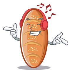 Listening music baked bread character cartoon vector