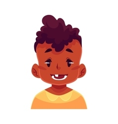 Little boy face smiling facial expression vector