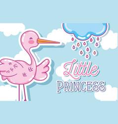 Little princess cute cartoon card vector