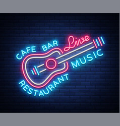 Live music neon sign poster emblem for vector