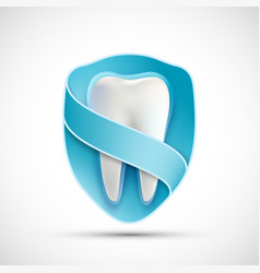 logo white tooth in the shield vector image