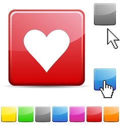 Love glossy button vector