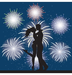 Lover and fireworks vector image