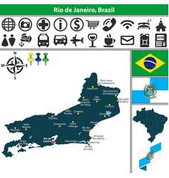 Map of rio de janeiro brazil vector
