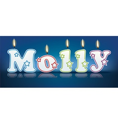 MOLLY written with burning candles vector