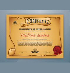 Multipurpose ancient certificate template design vector