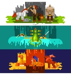 Mythical Creatures Banners Horizontal vector