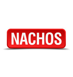 Nachos red 3d square button isolated on white vector