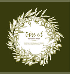 Olive oil poster of olives branch wreath vector