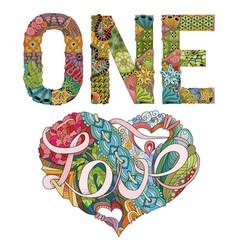 One love decorative zentangle object vector