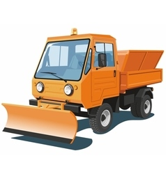 Orange snowplow truck vector image
