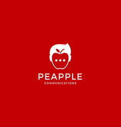 people with apple fruits communications logo vector image