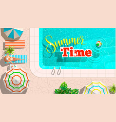 pool and lounges with summer sale announcement vector image