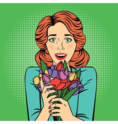 Pop art Beautiful Woman with Bunch of Flowers vector image