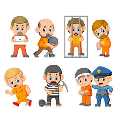 punishment of the the criminal on the jail vector image
