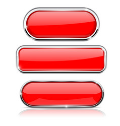 red buttons with metal frame collection shapes vector image
