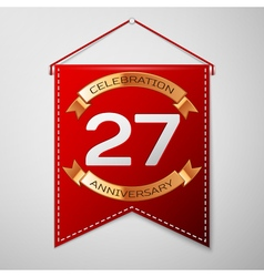 Red pennant with inscription twenty seven years vector