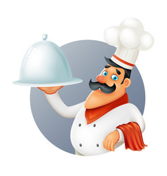 Restaurant chef cook serving food 3d cartoon vector