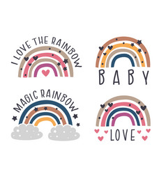 set isolated nursery rainbows vector image