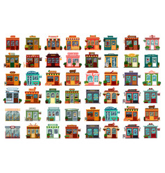 Set isolated shop facade or store buildings vector