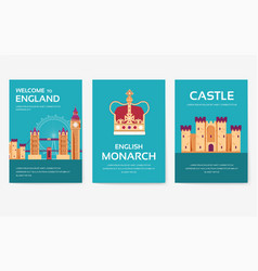 set of england country ornament travel tour vector image