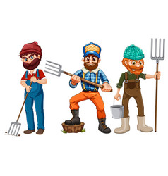 set of farmer character vector image