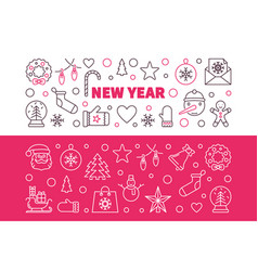 set of new year modern colored outline vector image
