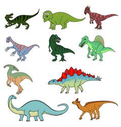 set ten different dinsaurs vector image