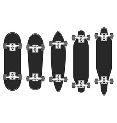 skateboards set skateboarding elements longboard vector image