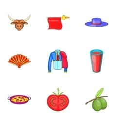 Spain icons set cartoon style vector image