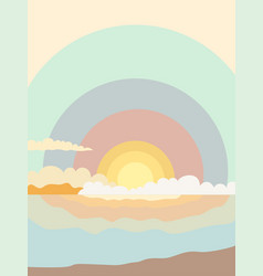 Sunrise in the sea in delicate pastel shades vector
