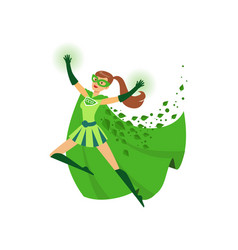 Superhero girl with hands up in vector