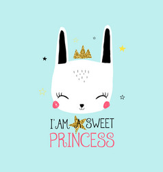 sweet bunny print design with slogan vector image