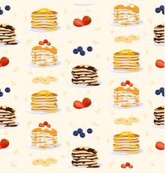 sweet pancakes seamless pattern flat vector image
