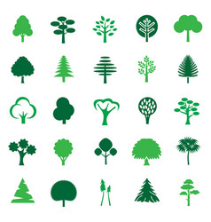 Trees color icon set on white background for vector
