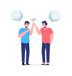 Two men communicating in flat style with speech vector
