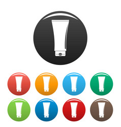 Uv tube cream icons set color vector