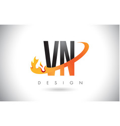 vn v n letter logo with fire flames design and vector image