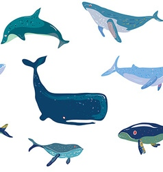 Whales seamless pattern graphic handdrawn vector