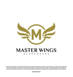 Wings m letter logo initial m wings logo template vector