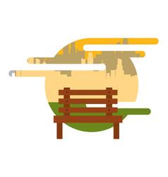 wooden bench park city urban vector image