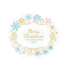Xmas snowflake frame christmas framework vector