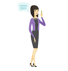 young asian business woman with speech bubble vector image