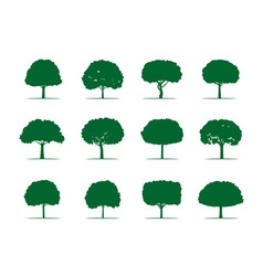 Collection of green trees vector