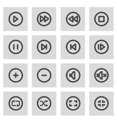 line media buttons icons set vector image