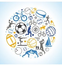 round concept with sport icons and signs vector image vector image