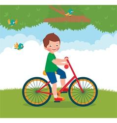 Boy rides a bike vector image vector image