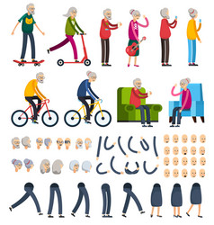 elderly people orthogonal constructor icons vector image