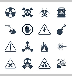 hazard and danger icon set vector image