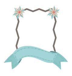 Label ribbon floral decoration template vector